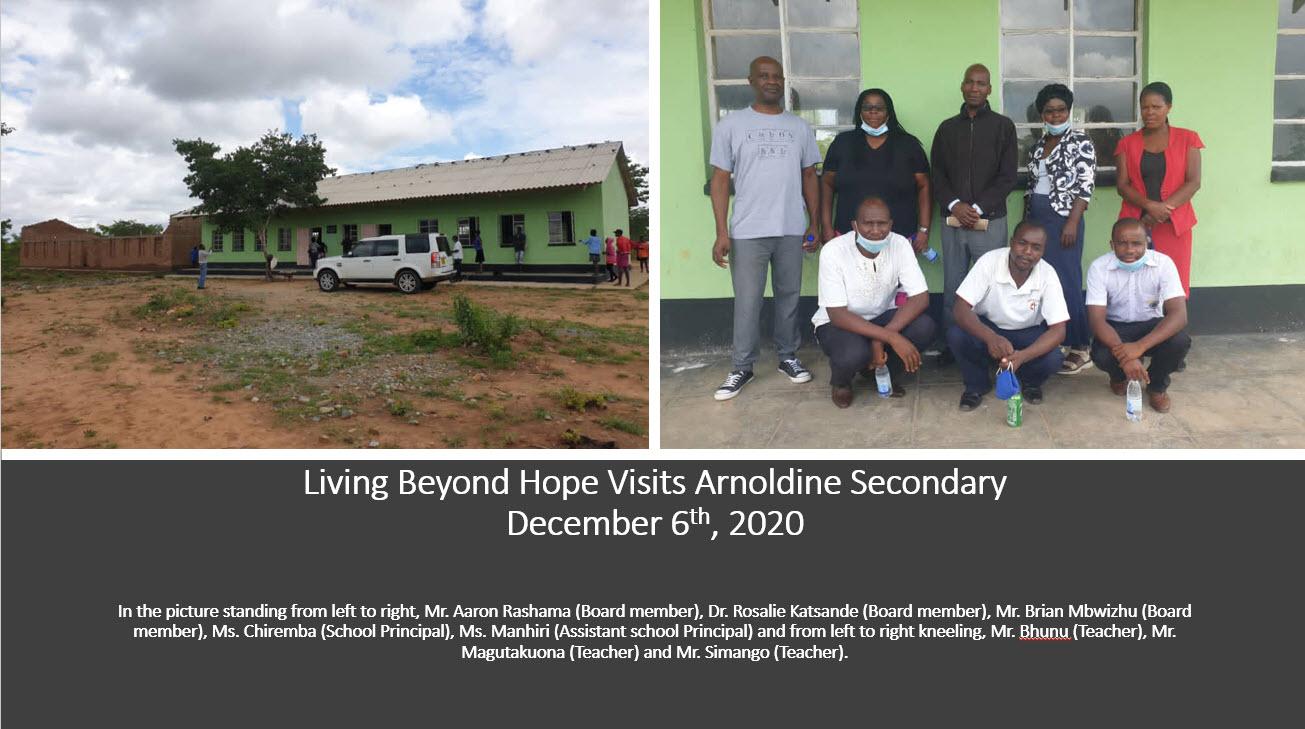 Living Beyond Hope – Zimbabwe visits Arnoldine Secondary school on December 6th, 2020